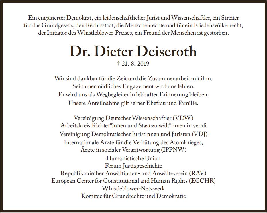 Traueranzeige Dieter Deiseroth